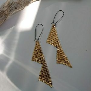 Gold Geo Swag Chainmail Dangle Earring